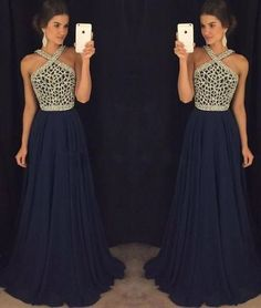 Navy Chiffon Prom Dress, Beading Sexy Long Prom