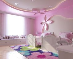 Kids furniture girls room decor ideas for 2019 Light Pink Bedrooms, Pink Bedroom Walls, Pink Walls, House Ceiling Design, Bedroom False Ceiling Design, Bedroom Ceiling, Girl Bedroom Designs, Girls Bedroom, Gypsum Board Design