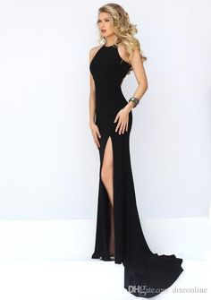Sexy Split Long Prom Dresses 2016 Simple Style Black Jewel Zipper Up Sweep Train Chiffon Evening Party Gowns High Quality Cheap