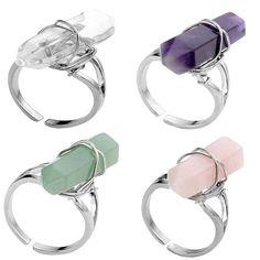 JLForest Hexagon Natrual Stone Finger Ring Men Women Crystal/Opal/Quartz/Aventurine Adjustable Fashion Elastic Stretch Ring Gift