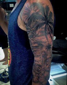 Man With Ocean Waves Beach Tattoos Full Sleeve
