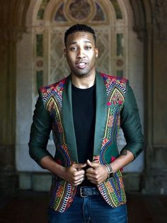 kitenge designs Rock this African print dashiki jacket on any casual or semi-formal occasion. The slim fit cut gives you a clean and sleek look.The available colors are yellow, green, African Clothing For Men, African Shirts, African Print Fashion, African Wear, African Attire, African Dress, Fashion Prints, African Fabric, Ankara Fashion