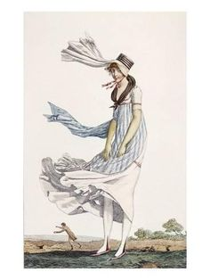 Out walking in the wind. A Ladies Summer Promenade Dress, 1800 (Coloured Engraving) Philibert Louis Debucourt Jane Austen, Regency Dress, Regency Era, Historical Costume, Historical Clothing, Historical Dress, 1800s Fashion, Medieval Fashion, Victorian Fashion