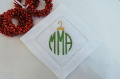 Monogrammed Linen Coasters (Set of 6), Green