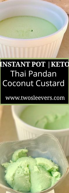 Instant Pot Keto Thai Coconut Pandan Custard . Fou…