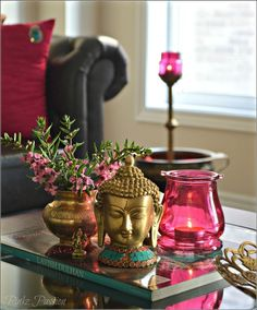 Buddha peaceful corner zen home decor interior styling console decor Buddha decor Buddha love on the table brass artifacts Indian home decor Indian inspired decor