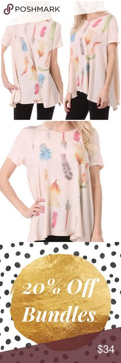 Fall Leaves Cream Tunic Top Fall leaves design on a cream tunic top featuring a round neckline. Loose fitting. Made of polyester/ rayon/ spandex blend. Also available in gray color. MADE IN USA Bchic Tops Tunics