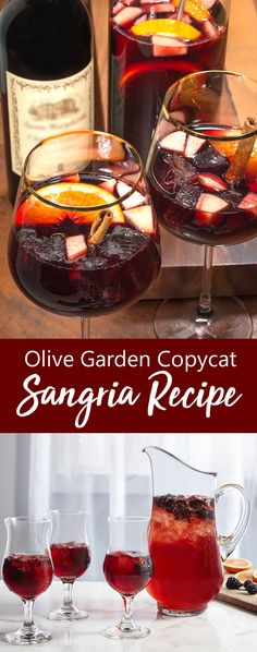 """Oh how we love Sangria and Olive Garden makes some of the best there is. Try our special """"copycat"""" recipe and you will swear you are sipping Olive Garden Sangria. This Sangria recipe calls for Olive Garden Berry Sangria Recipe, Fruity Sangria Recipe, Sangria Mix, Blackberry Sangria, Homemade Sangria, Red Sangria Recipes, Olive Garden Recipes, Peach Sangria, Margarita Recipes"""