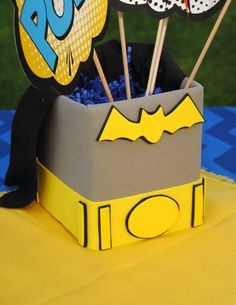 Batman Party Super Hero Party Super Hero Birthday by PSLetsParty Center Piece Batgirl Party, Lego Batman Party, Girl Superhero Party, Superhero Party Decorations, Party Themes For Boys, Baby Boy 1st Birthday, Batman Birthday, Movies Costumes, Ninjago Party