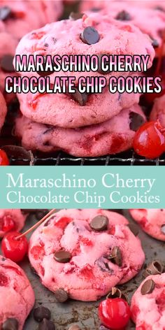 Maraschino Cherry Chip Cookies - Chewy Candy - Ideas of Chewy Candy - Thick & chewy maraschino cherry chocolate chip cookie recipe! Cherry Chocolate Chip Cookie Recipe, Chocolate Chip Cookies, Peanut Butter Cookie Recipe, Chocolate Chip Recipes, Chocolate Chips, Chocolate Brownies, Blueberry Cookies, Strawberry Cookies, Melted Chocolate