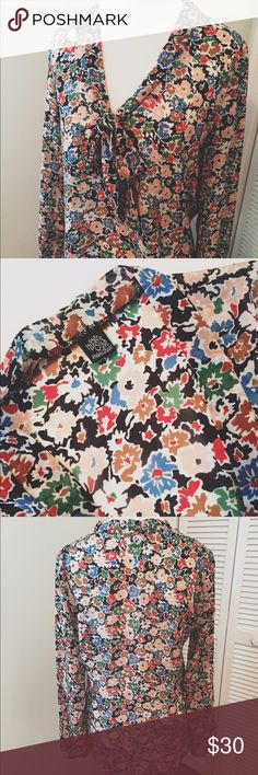 Only Hearts Helena Stuart tie front blouse Floral print long sleeve blouse by Only Hearts' Helena Stuart. V-neck tie front. 100% polyester. Small area where stitching has come loose on front right side(see last pic),otherwise in great condition. NO TRADES Only Hearts Tops Blouses