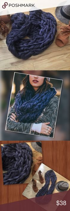 """Neckin Infinity design scarf for your layer look. Easy, cozy, oversized braid construction. Wrap it around your neck for all-day comfort. Very soft 100% acrylic. Purple and heather gray color gives a striking appeal. 8"""" wide 33"""" circumference. Machine washable. Ooo la la you've got the  look. Accessories Scarves & Wraps"""