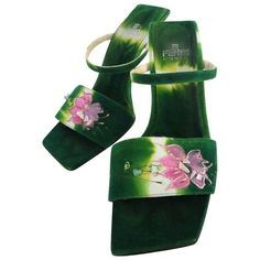 View this item and discover similar for sale at - Out of this world Fendi heels! Ombre green suede leather with hand-painted flowers across the top of the sandal. Hand Painted Heels, Suede Shoes, Shoes Sandals, Suede Sandals, Green High Heels, Def Not, Flower Shoes, Vintage Heels, Sneaker Heels