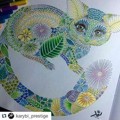 Que fofa! #Repost @karybi_prestige ・・・ Coloring book for adults ;)) Tropical World;) Millie Marotta - milliemarottabooks