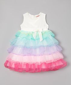 This Paulinie White Rainbow Tiered Ruffle Dress - Toddler & Girls by Paulinie is perfect! Fashion Kids, Little Girl Fashion, Toddler Fashion, Toddler Girl Dresses, Toddler Outfits, Kids Outfits, Toddler Girls, Little Girl Dresses, Girls Dresses