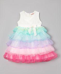 Another great find on #zulily! White Rainbow Ruffle Dress - Toddler & Girls by Paulinie #zulilyfinds