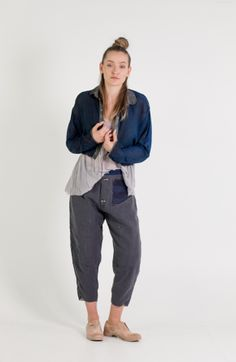 Umit Unal   Et Vous   Cropped Silk Shirt with Silk Tank and Linen Pants