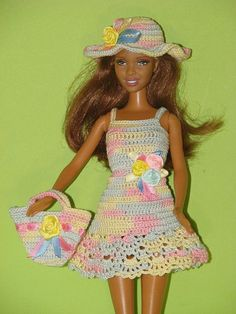 Model № 018. Set of 3- dress,hat, handbag for Barbie. A dress,hat, handbag is crocheted from cotton. The dress on the back is fastened with velcro. The dress is easy to dress up (assume starting from…MoreMore Click Visit link for more info