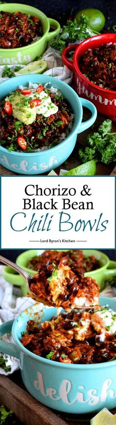 and Black Bean Chili Bowls - Thick and spicy, Chorizo and Black Bean Chili Bowls are the ultimate meat and bean lover's chili! Serve over rice or on a plate of nachos! Chili Recipes, Soup Recipes, Healthy Recipes, Potato Recipes, Casserole Recipes, Pasta Recipes, Crockpot Recipes, Vegetarian Recipes, Chicken Recipes