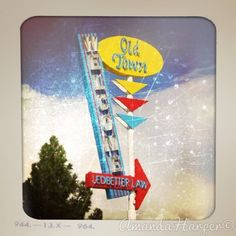 A colorful sign Welcoming you back to the 50's! Taken in Prescott, Arizona.