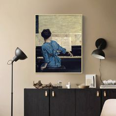 Vintage Play Piano Girls Poster Figure Canvas Painting POP Wall Art Pictures on Canvas for Living Room Gallery Home Decor Nostalgic Art, Living Room Canvas, Music Wall Art, Girl Posters, Nordic Art, Vintage Wall Art, Vintage Posters, Wall Art Pictures, Canvas Wall Art