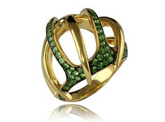 William Cheshire | 18ct Gold Venus Fly Trap Ring with Tsavorite Garnets