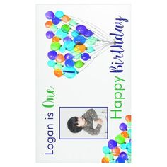 Rainbow BALLOON Boy 1st Birthday Photo Blue Green Banner!
