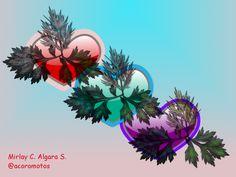 """RAMAL DE CORAZONES: para los mismos se utilizaron los pinceles """"GIMP Brush, GIMP Brush 6 y 11"""", donde se rellenaron los bordes con tinta de color rojo, morado y azul. Para las hojas se utilizó el pincel """"Kraut"""", se fueron rellenando con diferentes tonalidades de colores. Tipo le letras utilizadas """"Comic Sans MS y Arial Italic""""."""