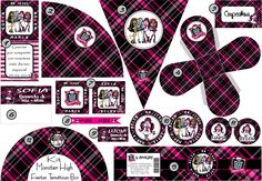 Kit imprimible monster high Cumple Monster High, Monster High Birthday, Monster High Party, Monster Door, Ideas Para Fiestas, Fiesta Party, Paper Toys, Party Printables, Holidays And Events