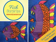 Fish Surprise- One day Make-and-Take or Sub Plans (Mini Matisse) Art Sub Lessons, Art Education Lessons, Pop Up, Elementary Art Lesson Plans, Art Sub Plans, 2nd Grade Art, Grade 2, Matisse, Middle School Art