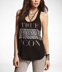 SLUB GRAPHIC SHIRTTAIL TANK - TRUE ICON  (Outfit Number 2)   #ExpressJeans