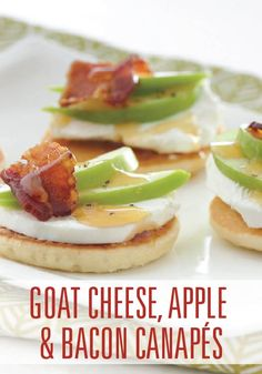 These little pancake appetizers are topped with the upscale flavors of goat cheese, apple and bacon.