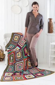 Granny Classic Afghan, free pattern by Mary Jane Protus for Red Heart. Great for leftovers & scraps. I like the way she combined the colors, & I already have nearly all them in The Stash :-) . . . . ღTrish W ~ http://www.pinterest.com/trishw/ . . . . #crochet #blanket #throw #granny_square