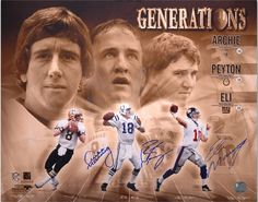 NFL Peyton Eli and Archie Manning Green Bay Packers Player Plaqu Olivia Manning, Peyton And Eli Manning, Manning Nfl, New York Football, New York Giants, Nfl Football, Football Players, Football Season, Go Broncos