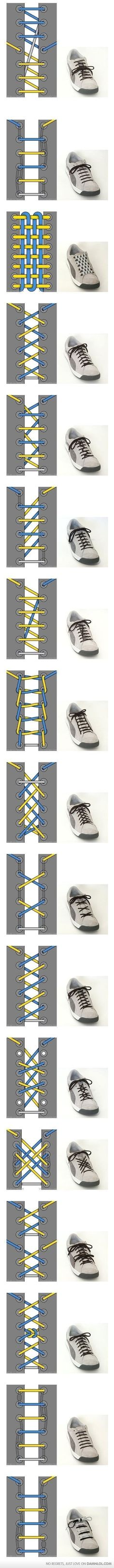 Cool Ways To Tie Your Shoe Laces ~ shoe lace patterns ~ Will have to remember this when the kids finally get shoes with laces. Your Shoes, Good To Know, Just In Case, Life Hacks, Mom Hacks, Creations, Geek Stuff, Mens Fashion, Boyish Fashion