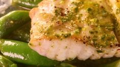 Michael Symon's Pan-Seared Halibut with Spring Vegetables and Pesto