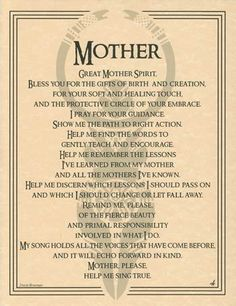 Great Mother Spirit Prayer Parchment Page Book of Shadows Bos Spell Page Wicca