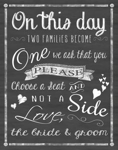 Wedding Chalkboard Sign Printable Choose a seat by FlyOnTheWallink, $3.00