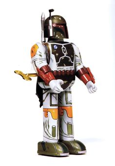 Wind me up. Japanese Boba Fett tin wind up toy circa 1997 :: scanned from Star Wars: 1000 Collectibles :: Abrams Books :: 2008 Star Wars Action Figures, Custom Action Figures, Abrams Books, Japanese Robot, The Force Is Strong, Tin Toys, Boba Fett, Nerd Geek, Cool Designs