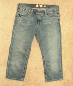 Old Navy Sz 4 Stretch Low Waist CAPRI CROPPED Jeans Snap Flap Pockets 32 x 22  #OldNavy #CapriCropped