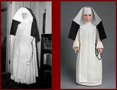 standing nuns is very unusual dominican nun with huge veil