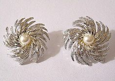 Pearl Hurricane Clip On Earrings Silver by PrettyJewelryThings, $35.00