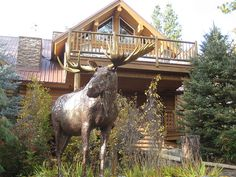 """""""Triple Creek Moose"""" sculpture by Russ Lamb. Located at Triple Creek Ranch in Darby, Montana."""