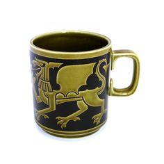Vintage Hornsea Dragon Mug, Hornsea Mug, Hornsea Pottery England, Ceramic Mug, Olive Green Mug, Tea Mug, Coffee Mug, Prince of Wales in 1969