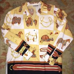 Burberry shirt Vintage equestrian Burberry blouse !!! Love it Burberry Tops Button Down Shirts