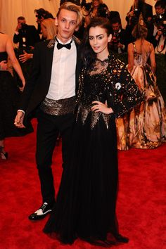 Lily Collins and Jamie Campbell Bower, both in Moschino // 2013 Met Gala