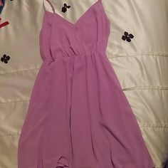 Short lavender dress Great shape. Spaghetti straps. Small button in front to take apart if you want a larger v neck opening. Forever 21 Dresses Mini