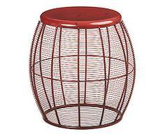 Tabouret JIN métal, rouge - H46