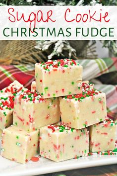 Easy-to-make, Sugar cookie Christmas fudge is a combo of two of my favorite treats: Christmas sugar cookies and fudge. Try making a batch this Christmas! Desserts Sugar Cookie Christmas Fudge Recipe - Only 4 Ingredients! Christmas Fudge, Christmas Sugar Cookies, Christmas Snacks, Christmas Cooking, Christmas Parties, Christmas Cupcakes, Christmas Dessert Recipes, Christmas Ideas, Christmas Goodies