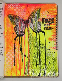 Free to be Me - Full Shot of Art Journal Page by Andrea Walford - using dots & dashes stencil